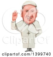 Clipart Of A Watercolor Caricature Of Pope Of The Roman Catholic Church And Bishop Of Rome Pope Francis 266th Royalty Free Vector Illustration by patrimonio