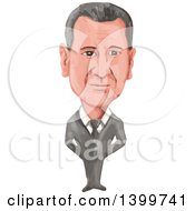 Clipart Of A Watercolor Caricature Of Syrian President Bashar Hafez Al Assad Royalty Free Vector Illustration