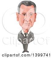Watercolor Caricature Of Syrian President Bashar Hafez Al-Assad