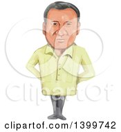 Clipart Of A Watercolor Caricature Of President Of The Philippines Rodrigo Rody Duterte Royalty Free Vector Illustration