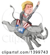 Clipart Of A Watercolor Caricature Of Donald Trump Riding A Republican Elephant Royalty Free Vector Illustration