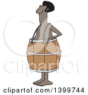 Clipart Of A Cartoon Poor Nude Black Man Wearing A Barrel Royalty Free Vector Illustration