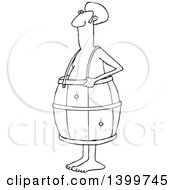 Cartoon Lineart Poor Nude Black Man Wearing A Barrel