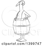 Cartoon Lineart Poor Nude White Man Wearing A Barrel