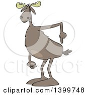 Clipart Of A Cartoon Moose Pointing To His Butt Royalty Free Vector Illustration by djart