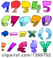 Clipart Of Cartoon Colorful Numbers And Symbols Royalty Free Vector Illustration