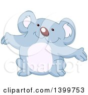 Clipart Of A Cartoon Happy Welcoming Or Presenting Koala Royalty Free Vector Illustration