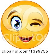 Clipart Of A Cartoon Yellow Emoji Smiley Emoticon Face Winking Royalty Free Vector Illustration