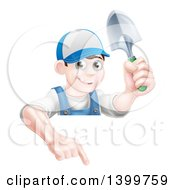Clipart Of A Happy Young Brunette White Male Gardener In Blue Pointing Down Over A Sign And Holding A Shovel Royalty Free Vector Illustration