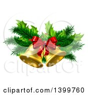 Clipart Of 3d Gold Christmas Bells With Branches And A Red Bow Royalty Free Vector Illustration by AtStockIllustration