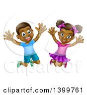 Clipart Of A Happy And Excited Black Boy And Girl Jumping Royalty Free Vector Illustration by AtStockIllustration