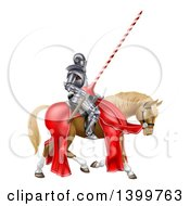 3d Fully Armored Medieval Jousting Knight Holding A Lance On A Horse