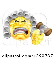 Clipart Of A Yellow Angry Judge Holding A Gavel Emoji Emoticon Smiley Royalty Free Vector Illustration by AtStockIllustration