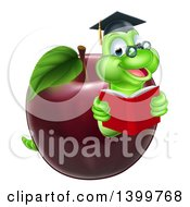 Cartoon Happy Green Graduate Book Worm Reading In A Red Apple