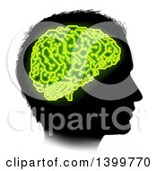 Clipart Of A Black Silhouetted Male Head In Profile With A Green Brain Of Electrical Circuits In Neon Green Royalty Free Vector Illustration