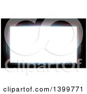 Clipart Of A Bright Blank White Theater Screen Framed With Red Curtains Royalty Free Vector Illustration by AtStockIllustration