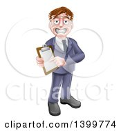 Cartoon Stressed Sweaty Business Or Sales Man Holding And Pointing To A Clipboard