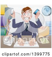 Clipart Of A Cartoon Stressed Caucasian Business Man Multi Tasking With Many Arms At His Office Desk Royalty Free Vector Illustration by AtStockIllustration