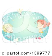 Clipart Of A Sketched School Boy And Girl With Abc Letters And Numbers Royalty Free Vector Illustration