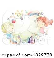 Clipart Of A Sketched School Boy And Girl With Educational Items Royalty Free Vector Illustration