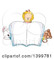 Clipart Of Cute Animal Students Peeking Around An Open Book Royalty Free Vector Illustration by BNP Design Studio