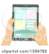 Clipart Of Hands Of A Man Using A Touch Screen Tablet Computer Royalty Free Vector Illustration