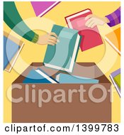 Clipart Of Hands Putting Donated Books In A Box Royalty Free Vector Illustration