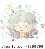 Clipart Of A Sketched Girl With Educational Icons Royalty Free Vector Illustration
