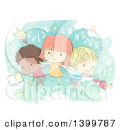 Clipart Of A Sketched Group Of School Children With Letters And Numbers Royalty Free Vector Illustration