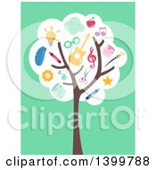 Clipart Of A Flat Design Tree With Educational Supplies On Green Royalty Free Vector Illustration by BNP Design Studio