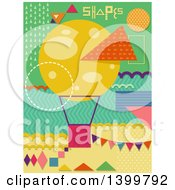 Clipart Of A Patterned Hot Air Balloon And Shapes Royalty Free Vector Illustration