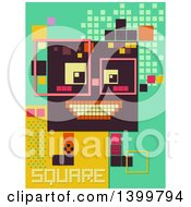 Clipart Of A Patterned Robot With Shapes Royalty Free Vector Illustration