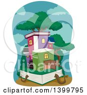 Clipart Of A Tree And Village Of Books Royalty Free Vector Illustration by BNP Design Studio