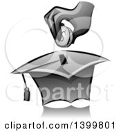 Clipart Of A Grayscale Hand Putting A Coin In A Graduation Cap Box Royalty Free Vector Illustration by BNP Design Studio