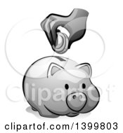Clipart Of A Grayscale Hand Putting A Coin In A Piggy Bank Royalty Free Vector Illustration