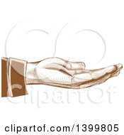 Clipart Of A Brown Engraved Hand Held Out Royalty Free Vector Illustration