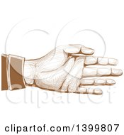 Clipart Of A Retro Brown Engraved Hand Reaching To Shake Royalty Free Vector Illustration