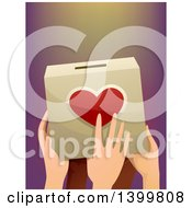 Clipart Of A Group Of Hands Holding A Donation Box Royalty Free Vector Illustration