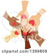 Clipart Of A Circle Of Hands With Hearts Royalty Free Vector Illustration by BNP Design Studio