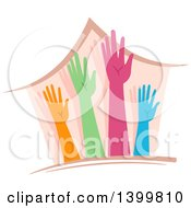 Clipart Of A House With Colorful Hands Royalty Free Vector Illustration
