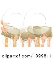 Clipart Of A Group Of Volunteer Hands Passing Donation Boxes Royalty Free Vector Illustration