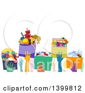 Clipart Of A Line Of Hands Passing Donation Boxes Royalty Free Vector Illustration