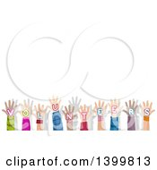 Clipart Of A Row Of Hands With Volunteers Text With Copyspace Royalty Free Vector Illustration