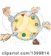 Clipart Of A Circle Of Child Hands Holding Spoons Around A Bowl Royalty Free Vector Illustration