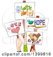 Clipart Of Hands Holding Up Positive Signs Royalty Free Vector Illustration