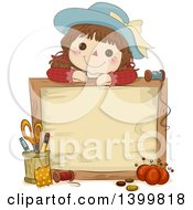 Clipart Of A Sketched Adorable Rag Doll Over A Wood Sign With Sewing Materials Royalty Free Vector Illustration