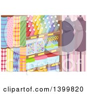 Clipart Of A Textile Shop With Fabric Accessories And Mannequins Royalty Free Vector Illustration