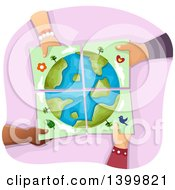 Clipart Of A Group Of Hands Holding Together Pieces Of An Earth Painting Royalty Free Vector Illustration