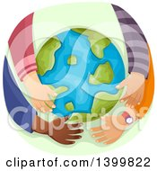 Clipart Of A Group Of Childrens Arms Hugging Planet Earth Royalty Free Vector Illustration