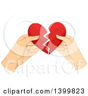 Clipart Of Hands Of A Couple Tearing Apart A Heart Royalty Free Vector Illustration by BNP Design Studio